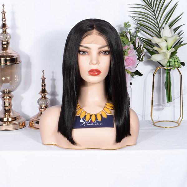 FUHSI Lace Front Wigs for Women 13X6 Lace Kanekalon Futura Hair Synthetic Wigs Short Bob Straight Wig 2# Color