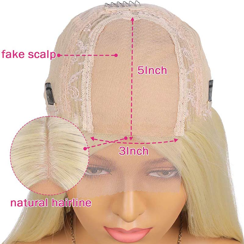 Fuhsi Blonde Wig Fake Scalp Lace Hair 613# 30 inches