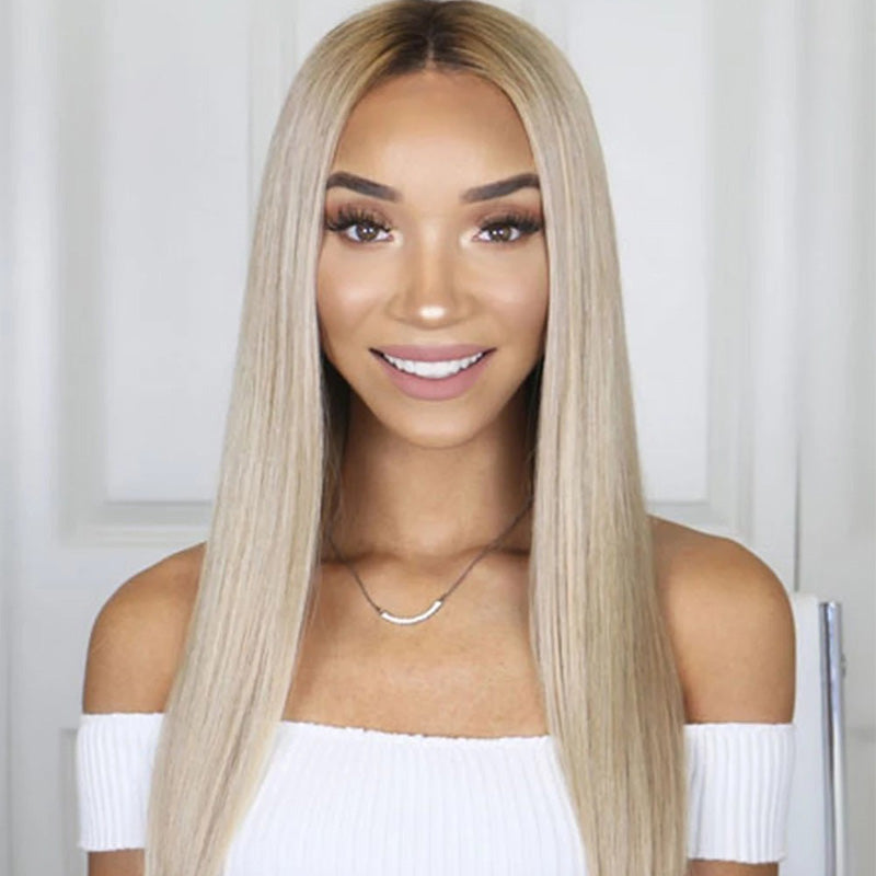 FUHSI® Kanekalon Fiber 13×6 Dark Roots Two Tone Lace Front Synthetic Straight Wig Ash Blonde –2T103# Color Blonde 250Density 22inchs