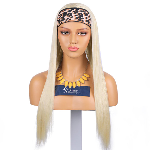 Fuhsi Blonde Headband Wig Synthetic Hair For Gym