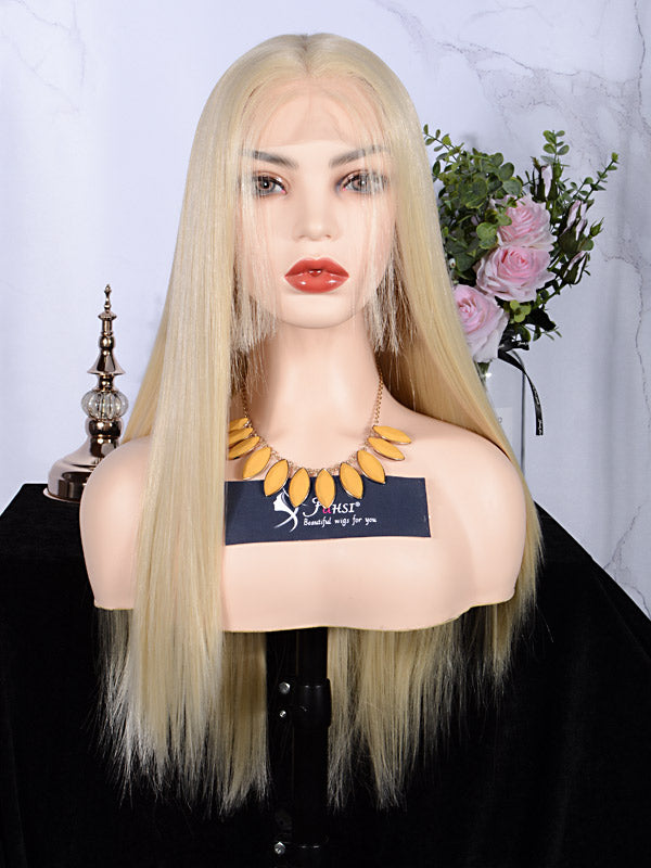 FUHSI® Kanekalon Fiber 13×6 Inch Synthetic Straight Lace Front Wig Blonde–613# Color Blonde 250Density 22inch