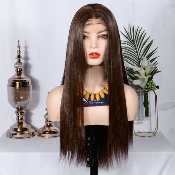 FUHSI® Kanekalon Fiber 13×6 Inch Synthetic Straight Lace Front Wig Hightlight Color Blonde 250Density 22inch