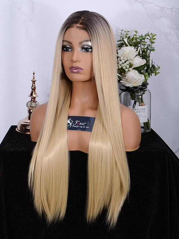 Fuhsiwigs full lace wigs 2T613# Straight-4