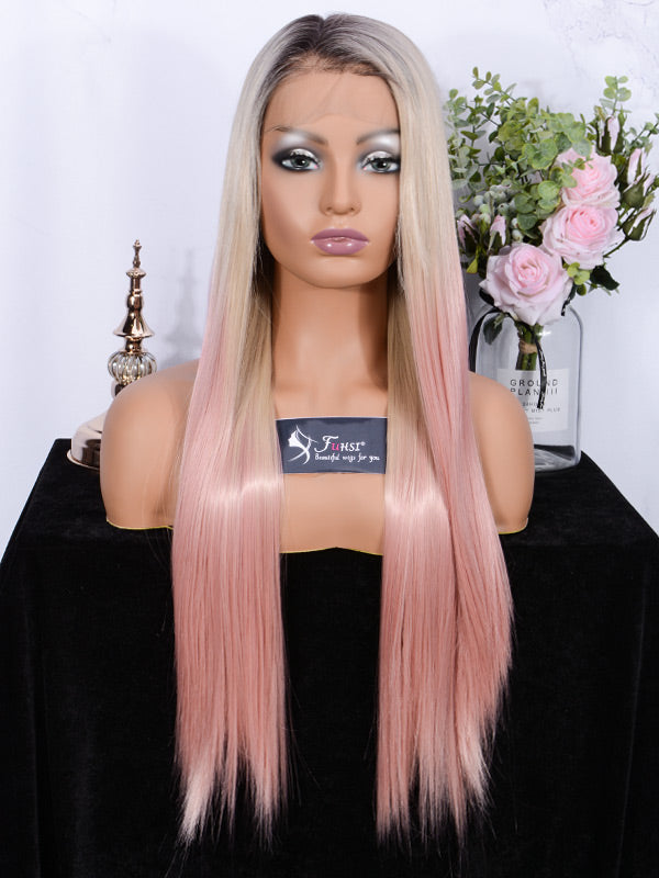 Full Lace Wig Straight 2T103T# Pink -1