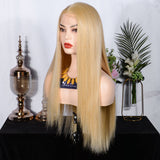 FUHSI® Kanekalon Fiber Lace Front Synthetic Straight Wig Blonde 144–613# Color Blonde 250Density 22inchs