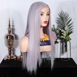 FUHSI® Kanekalon Fiber Lace Front Synthetic Straight Wig Purple Mix 60# Color Blonde 250Density 22inchs