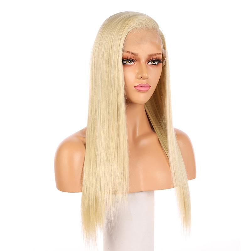 Fake Scalp Synthetic Full Lace Straight Wig Blonde Hair 613# - MILDWILD