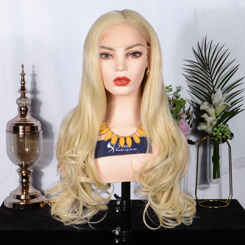 FUHSI® Blonde Full Lace Wig Long Wavy Glueless Synthetic Wig Blonde–22inch 613# Color