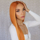 FUHSI® Kanekalon Fiber 13×6 Inch Synthetic Straight Lace Front Wig Orange –1002# Orange Color Blonde 250Density 22inch