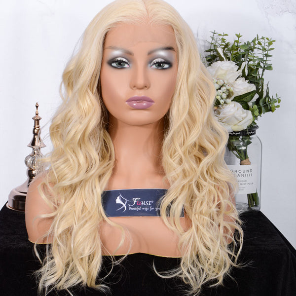 FUHSI Lace Front Wigs for Women 13X6 Lace Wigs Kanekalon Futura Hair Synthetic Wigs Curly Wavy Wig Layers Blond 613# color 22""