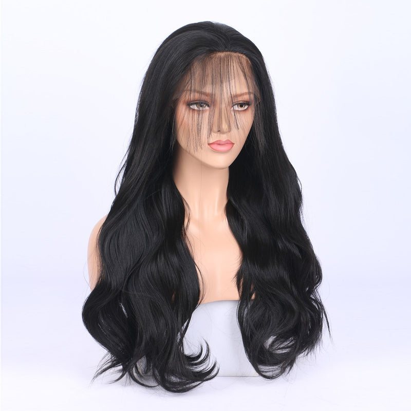 FUHSI® Blonde 13×6 Body Wave Lace Front Wig Glueless Synthetic Wig Nature Black–22inch 2# Color