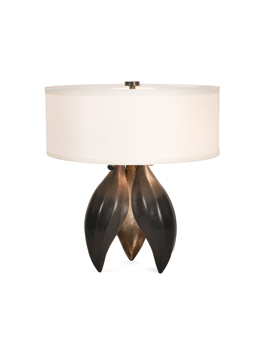 Dark Antique Brass with Classic Bronze Pods, Dutch Gold Interior and White Silk Pongee Shade