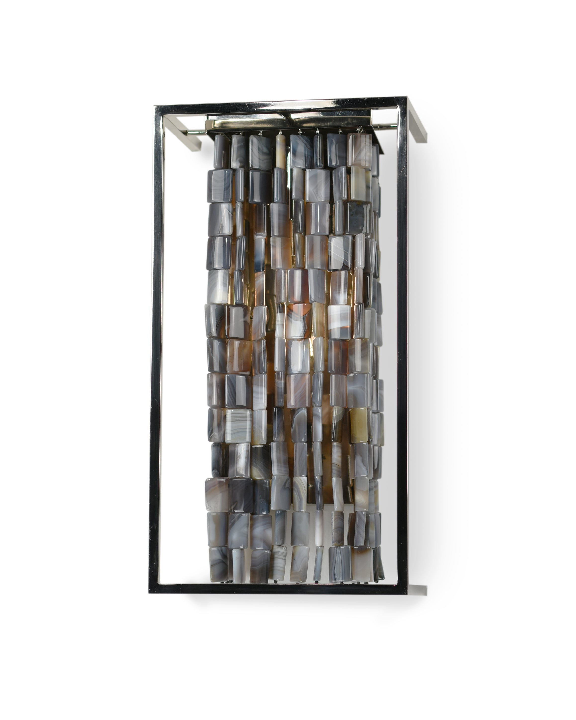 Alex 17 Inch Sconce shown in Polished Nickel with Striped Agate