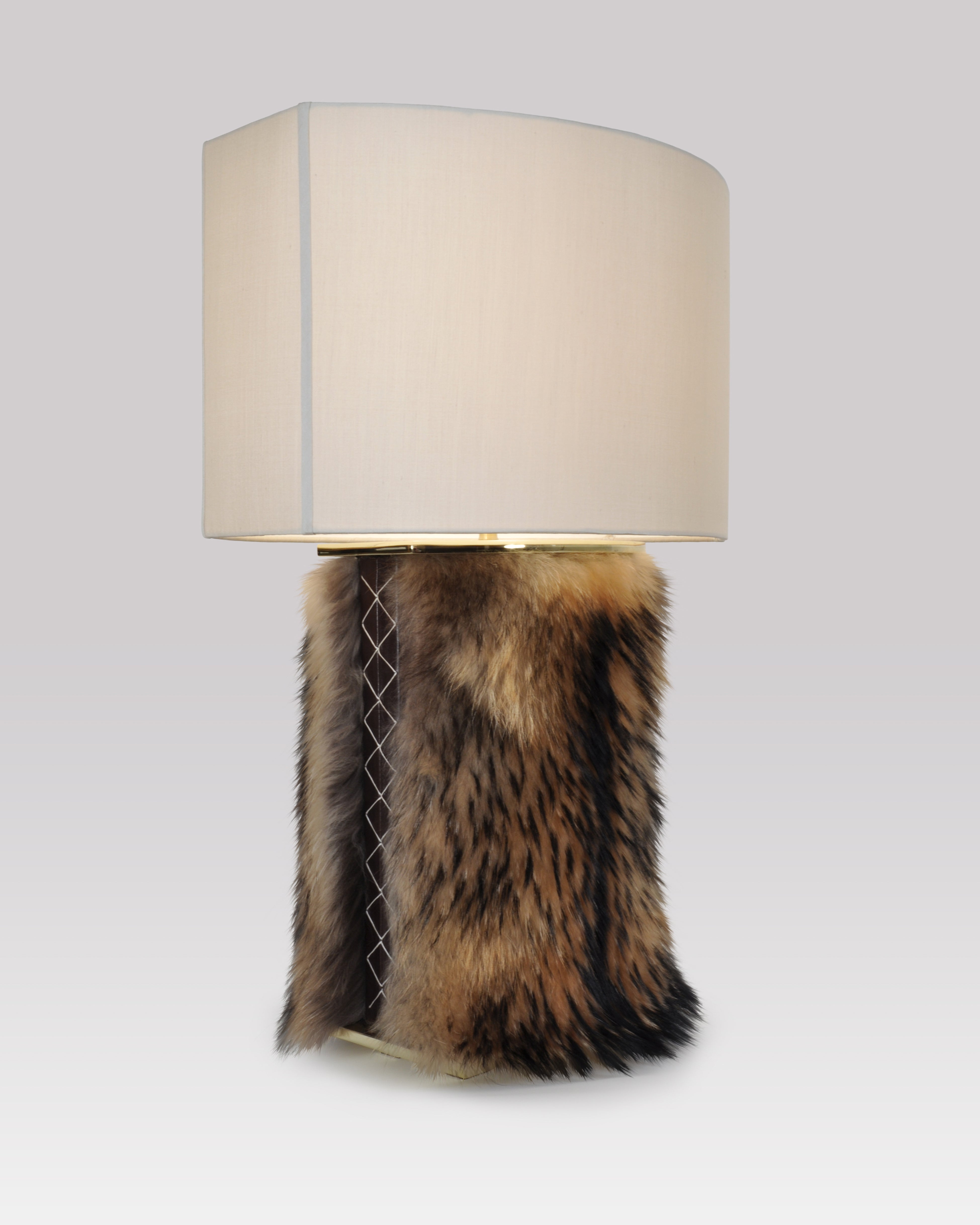 Finnish Raccoon and Brown Leather with Polished Brass and Mushroom Silk Pongee