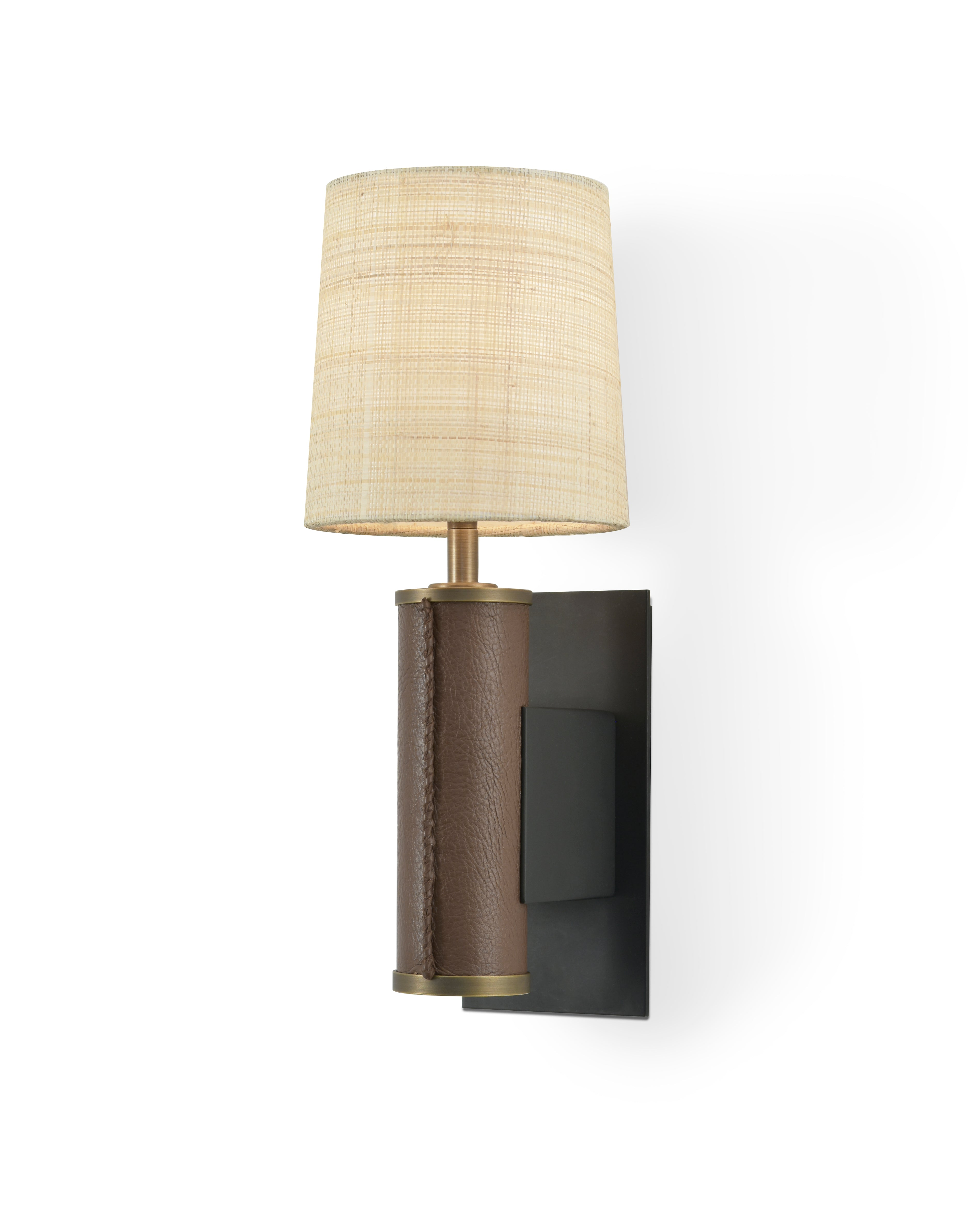 Patinated Steel and Light Antique Brass with Brown Leather and Raffia Shade