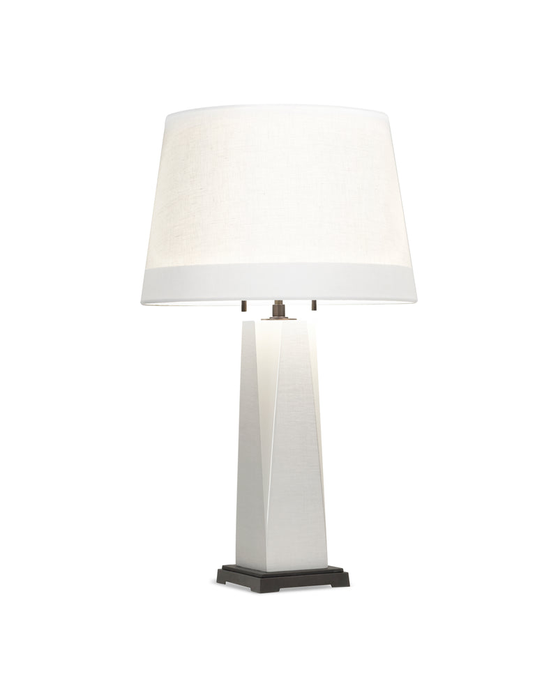 Draper Table Lamp in White Lacquer Linen and Oil Rubbed Bronze and White Linen Shade