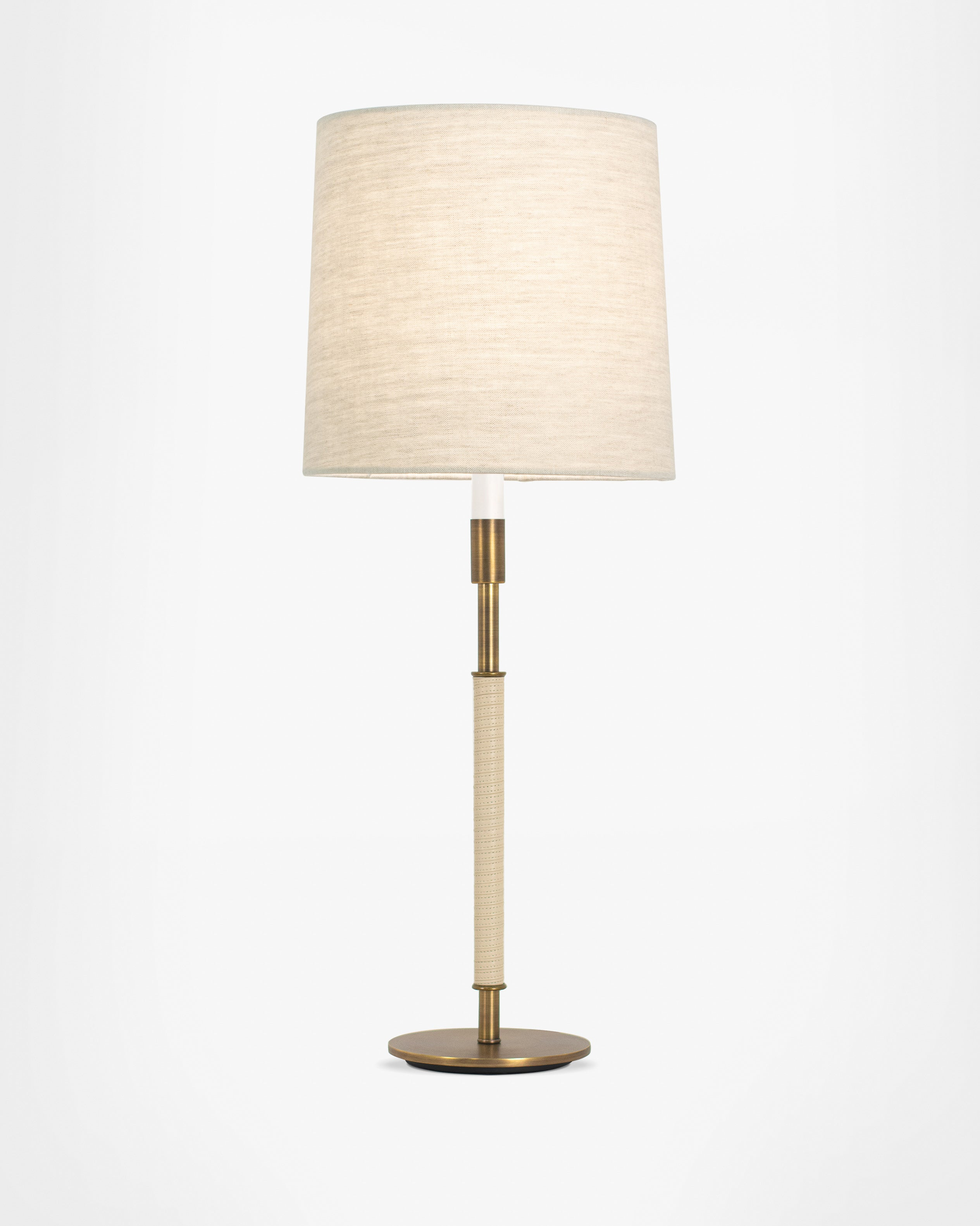 Light Antique Brass with Cream Leather and Natural Linen Shade