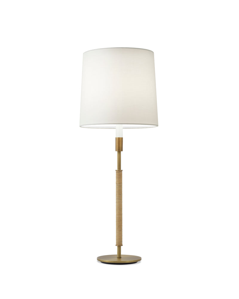 Light Antique Brass and Cane with White Silk Pongee Shade
