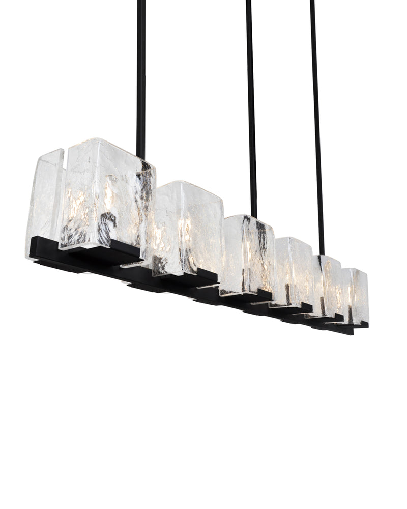 12 Light in Oil Rubbed Bronze with Clear Crackled Glass