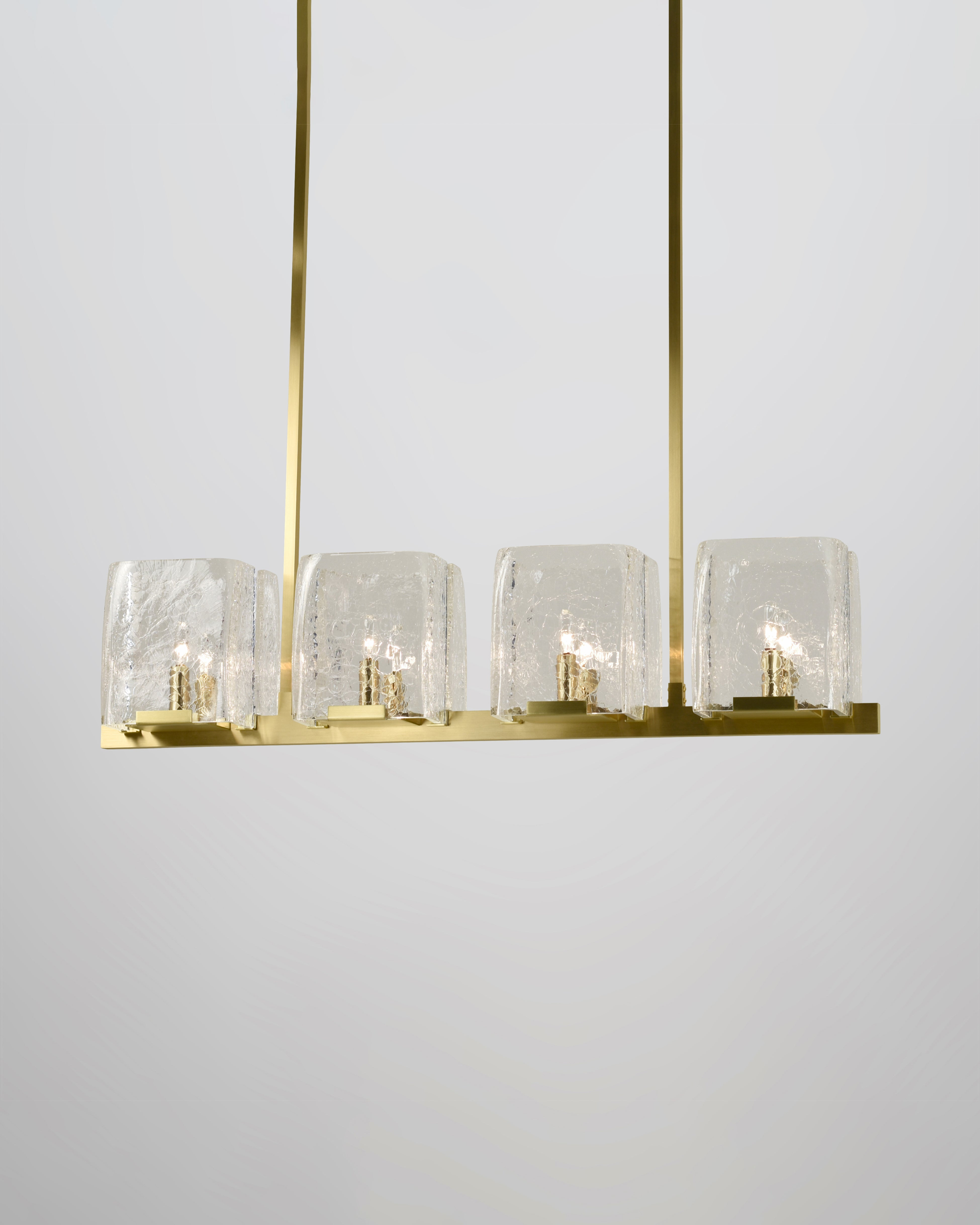 8 Light in Brushed Brass with Clear Crackled Glass