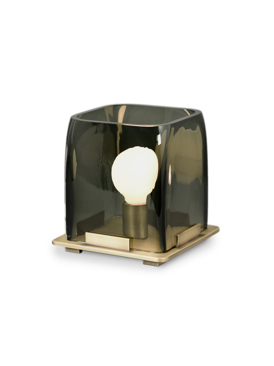 Light Antique Brass with Smoke Smooth Glass