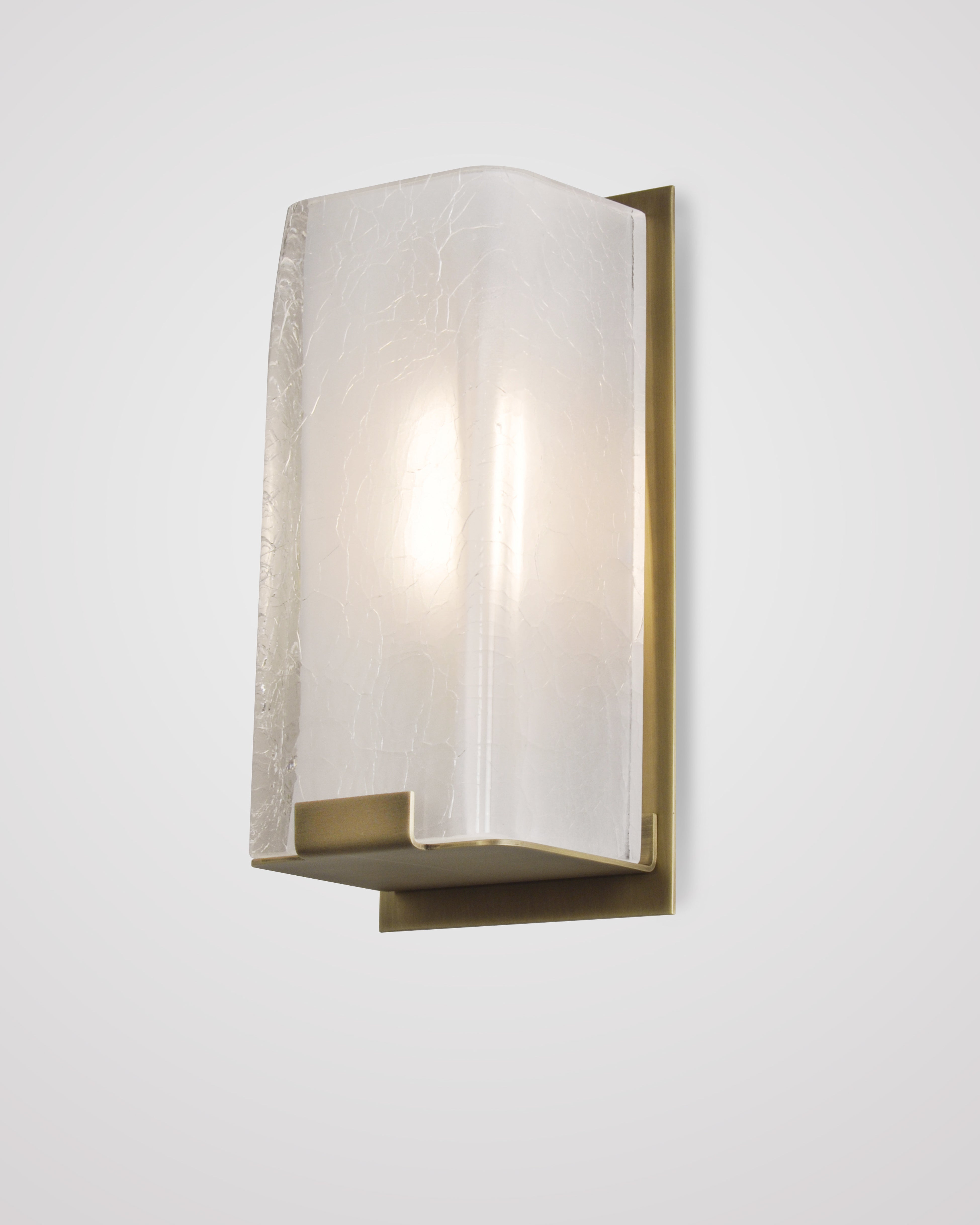 Light Antique Brass with Clear Frosted Glass