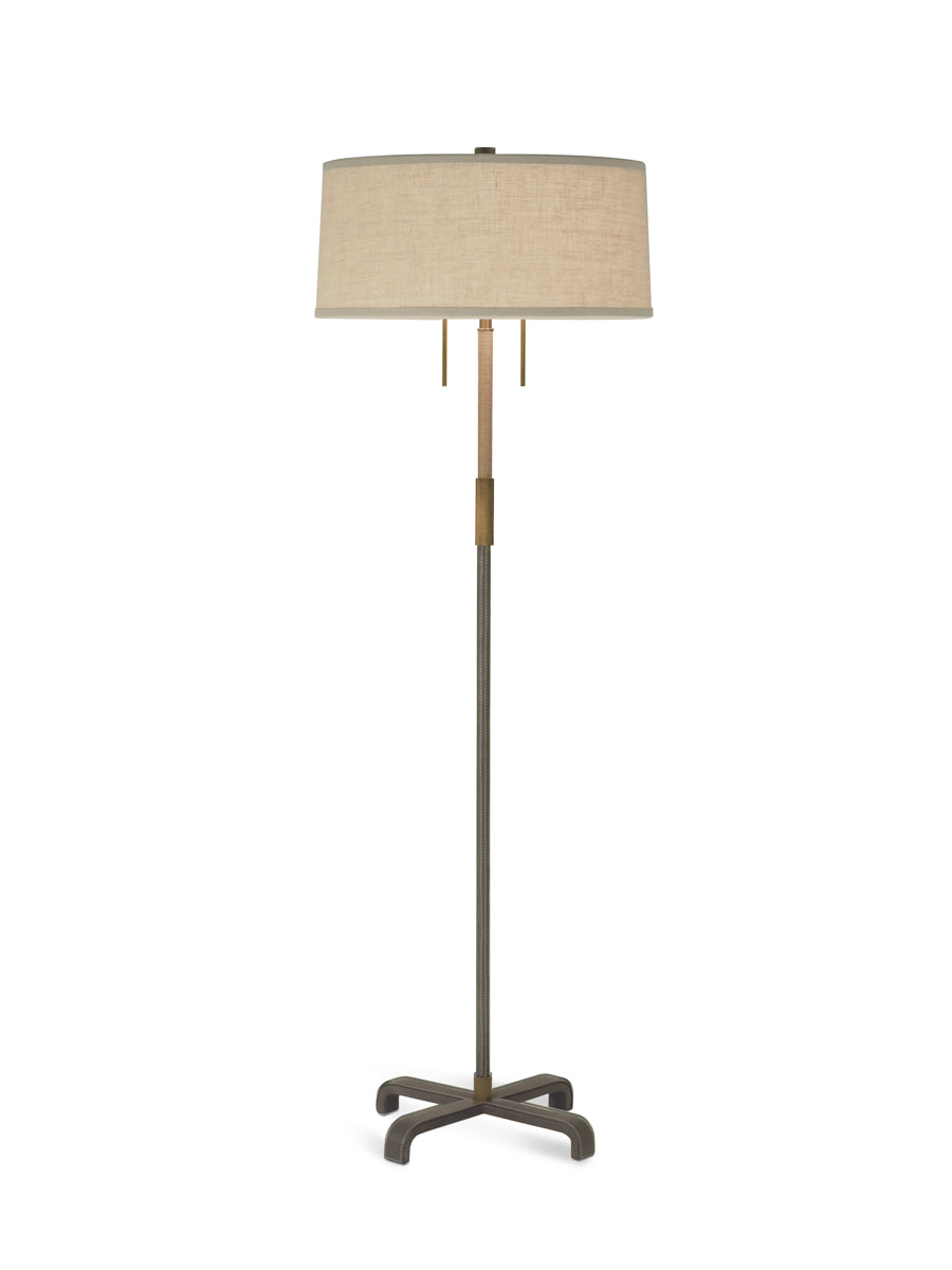 Light Antique Brass and Mink Leather with Jute Wrap and Natural Linen Shade