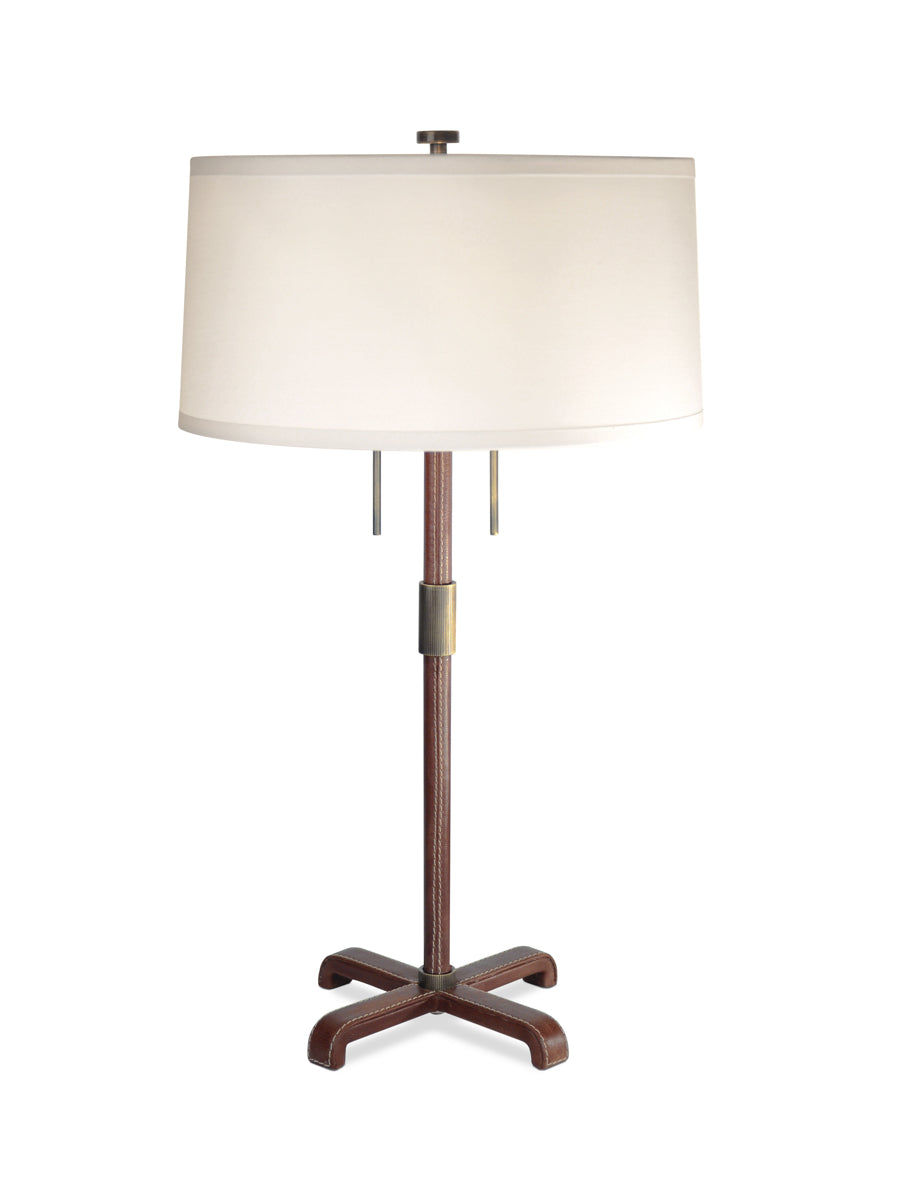 Light Antique Brass with Brown Leather and White Silk Pongee