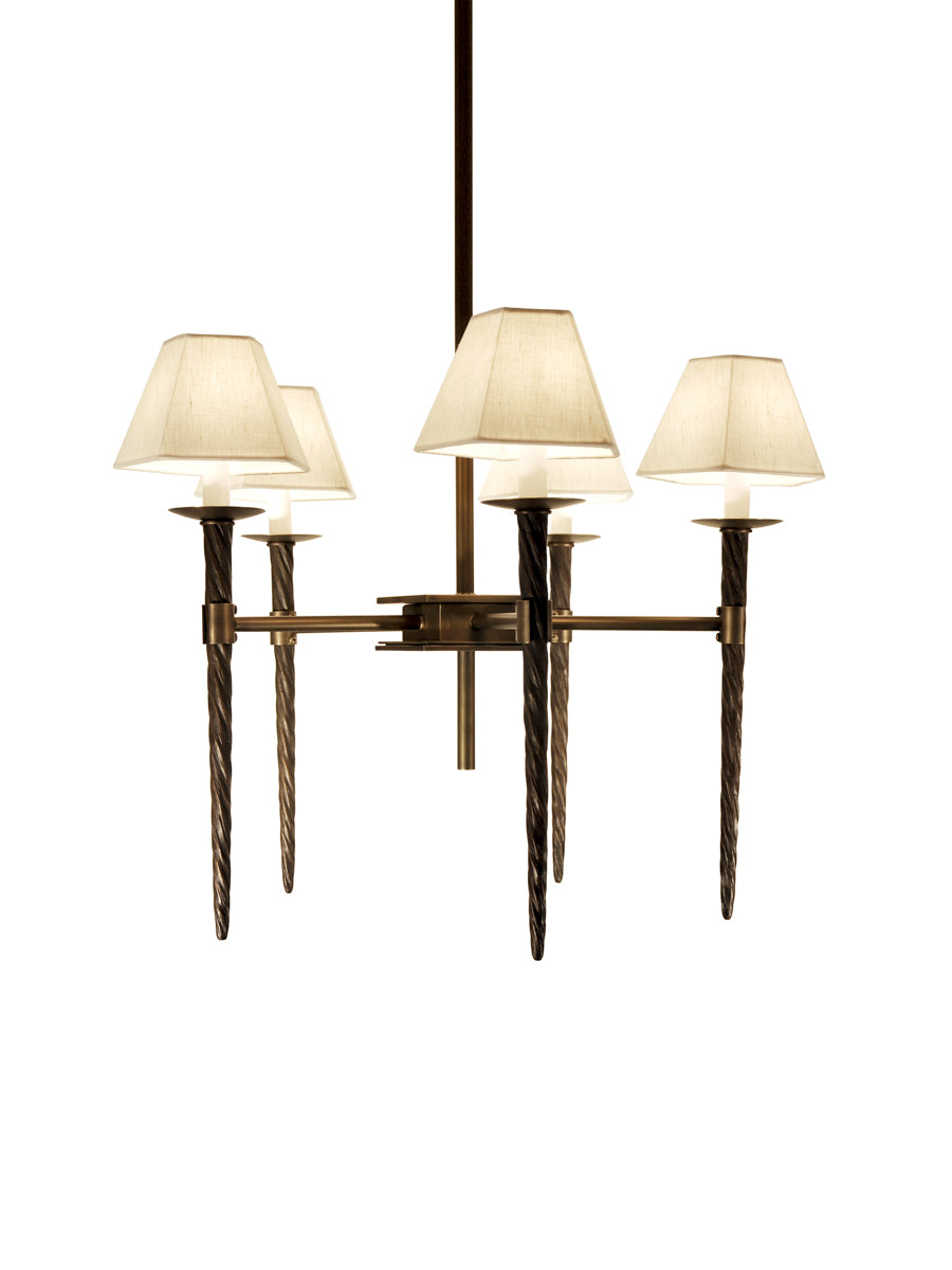 Light Antique Brass and Classic Bronze with Black Shagreen and White Silk Pongee