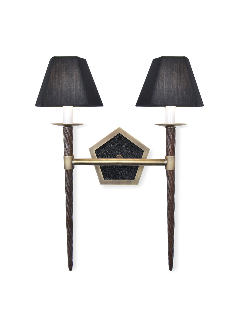 Light Antique Brass and Classic Bronze with Black Shagreen and Black Silk Pongee