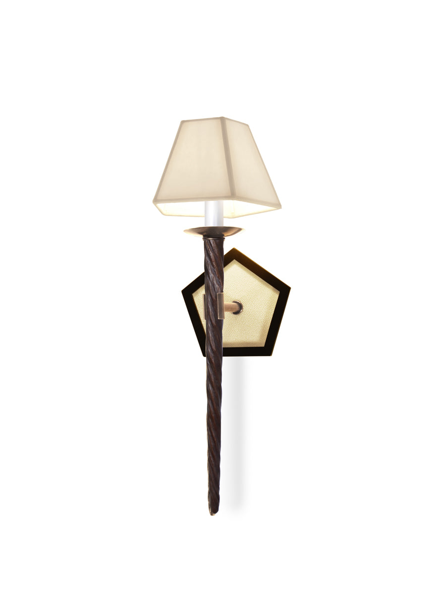 Oil Rubbed Bronze with Classic Bronze and Vanilla Shagreen and Custom Paper Shade