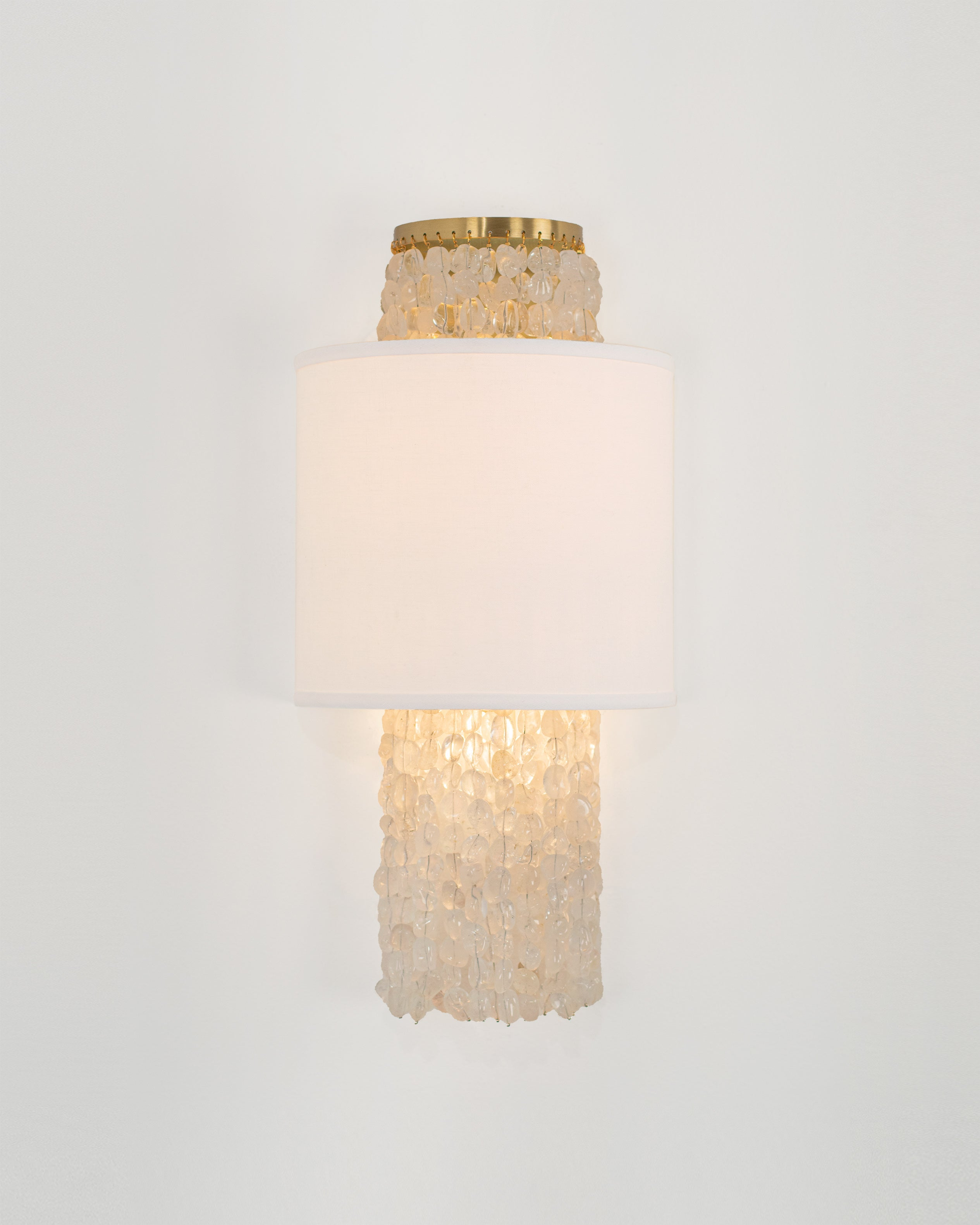 Small Rock Crystal and White Linen with Brushed Brass