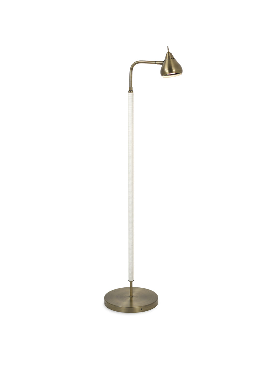 Sofia Single Floor Lamp White Leather