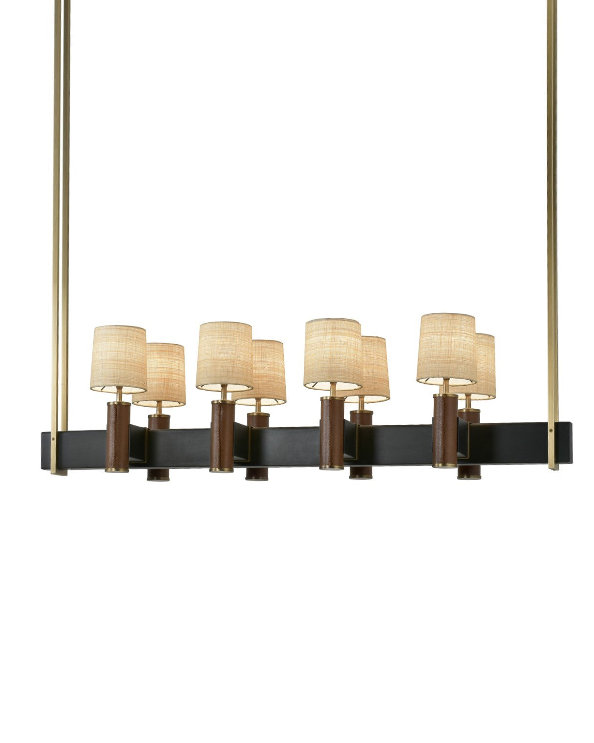 Del Mar Chandelier in Light Antique Brass and Brown Leather with Raffia Shades on Patinated Steel Frame
