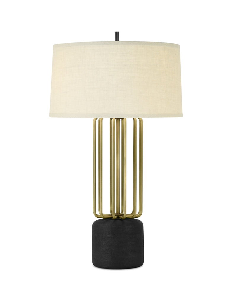 Light Antique Brass with Carbon and Cream Linen