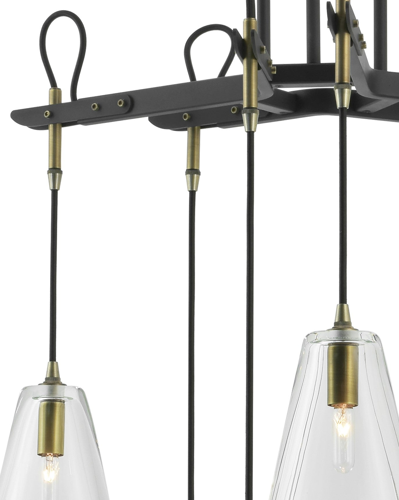 Patinated Steel with Light Antique Brass accents and Clear Glass