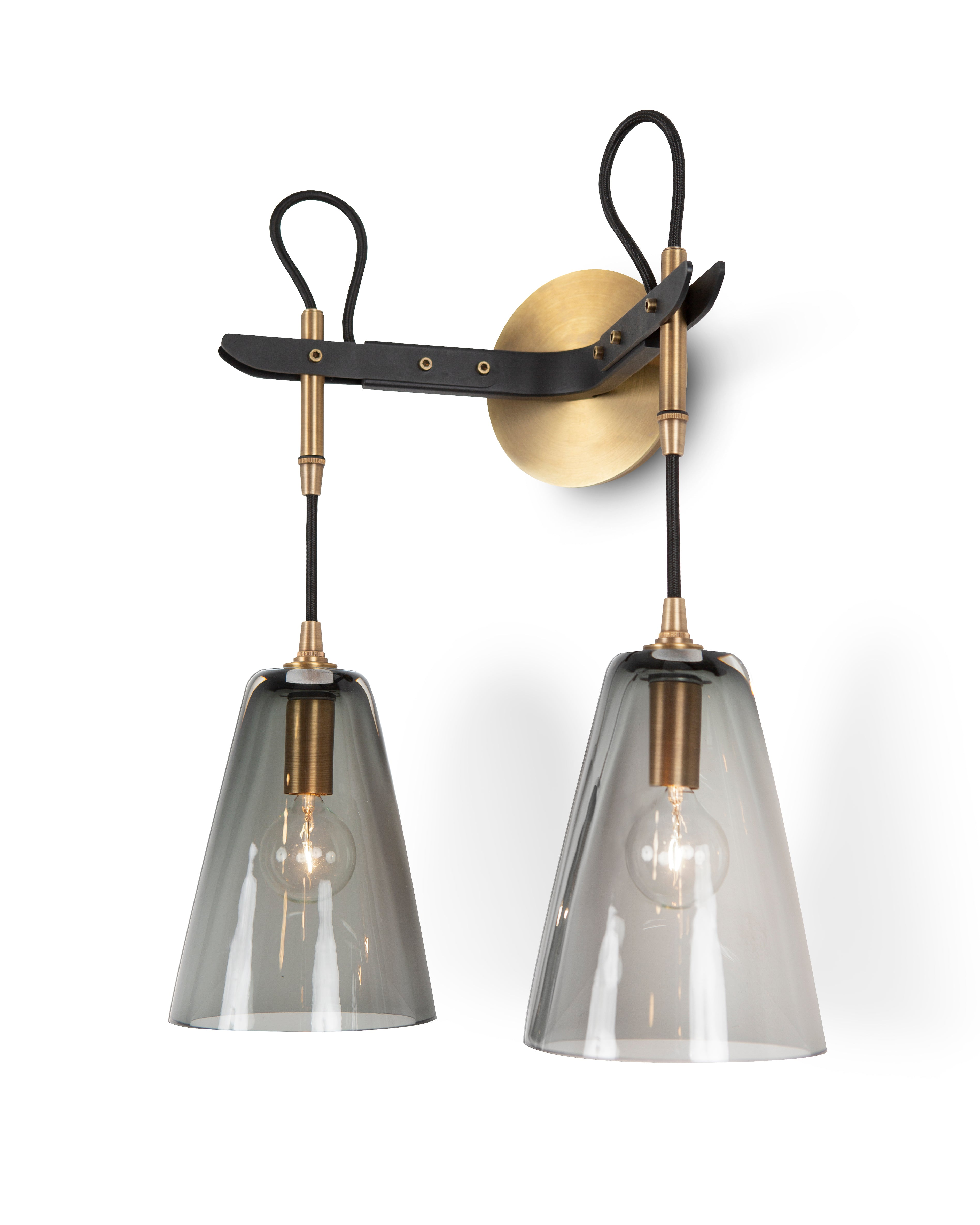 Vail Double Sconce in Light Antique Brass and Patinated Steel with Smoke Glass