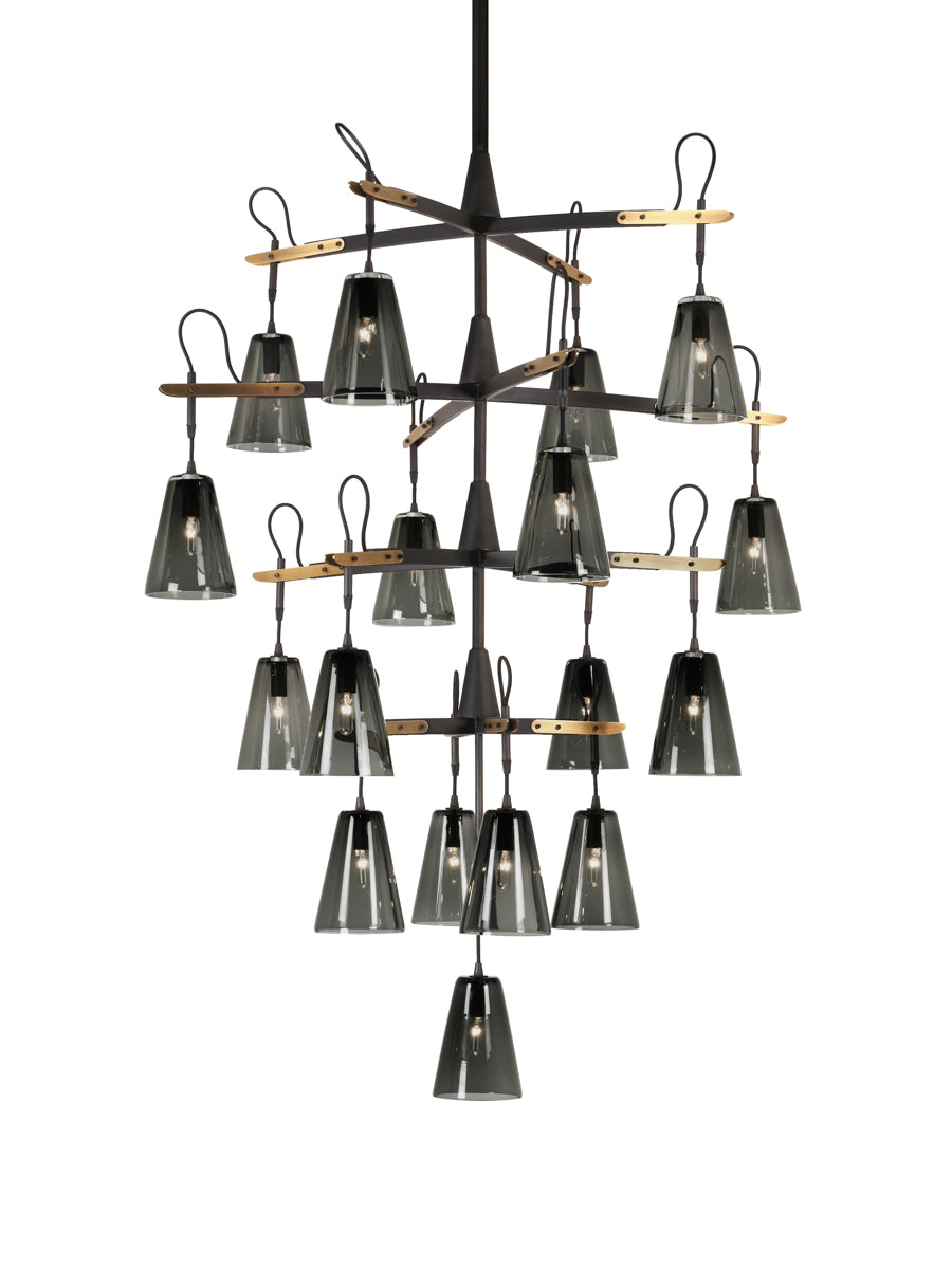 21 Light in Patinated Steel with Light Antique Brass and Smoke Glass