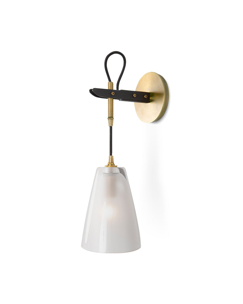 Vail Single Sconce In Light Antique Brass and Patinated Steel and Clear Frosted Glass
