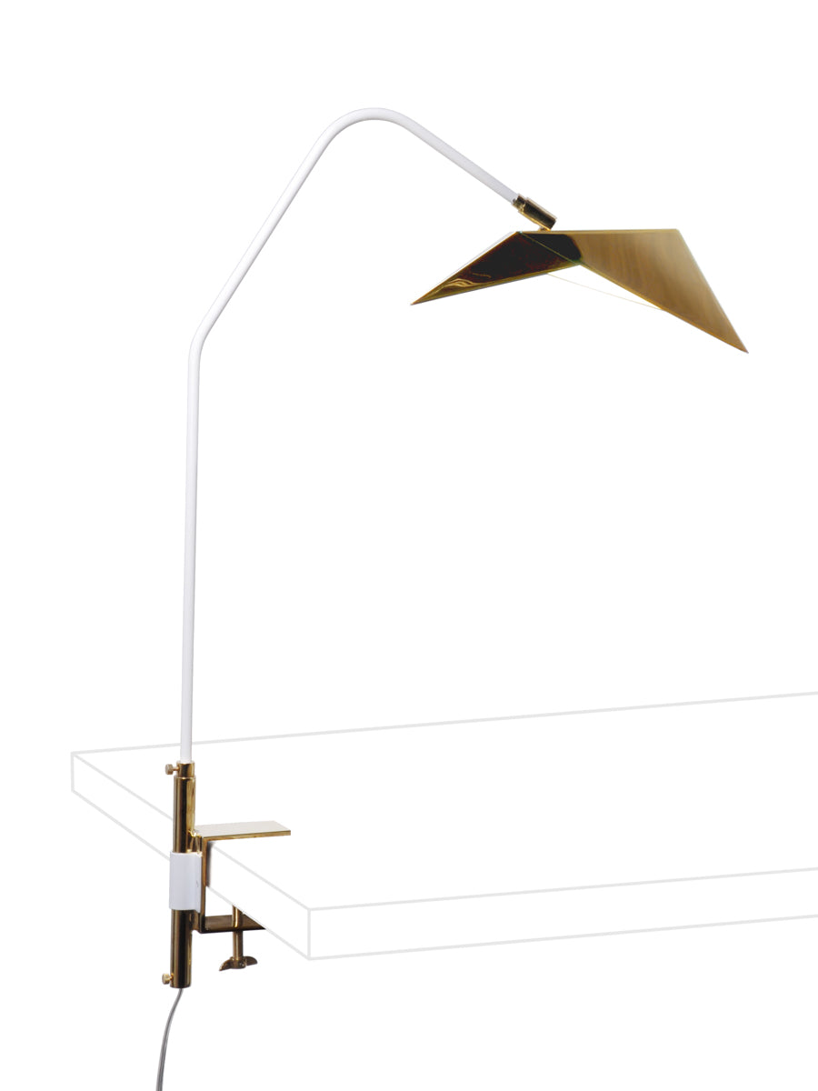 White Powder Coat Arm with Polished Brass Shade and Clamp