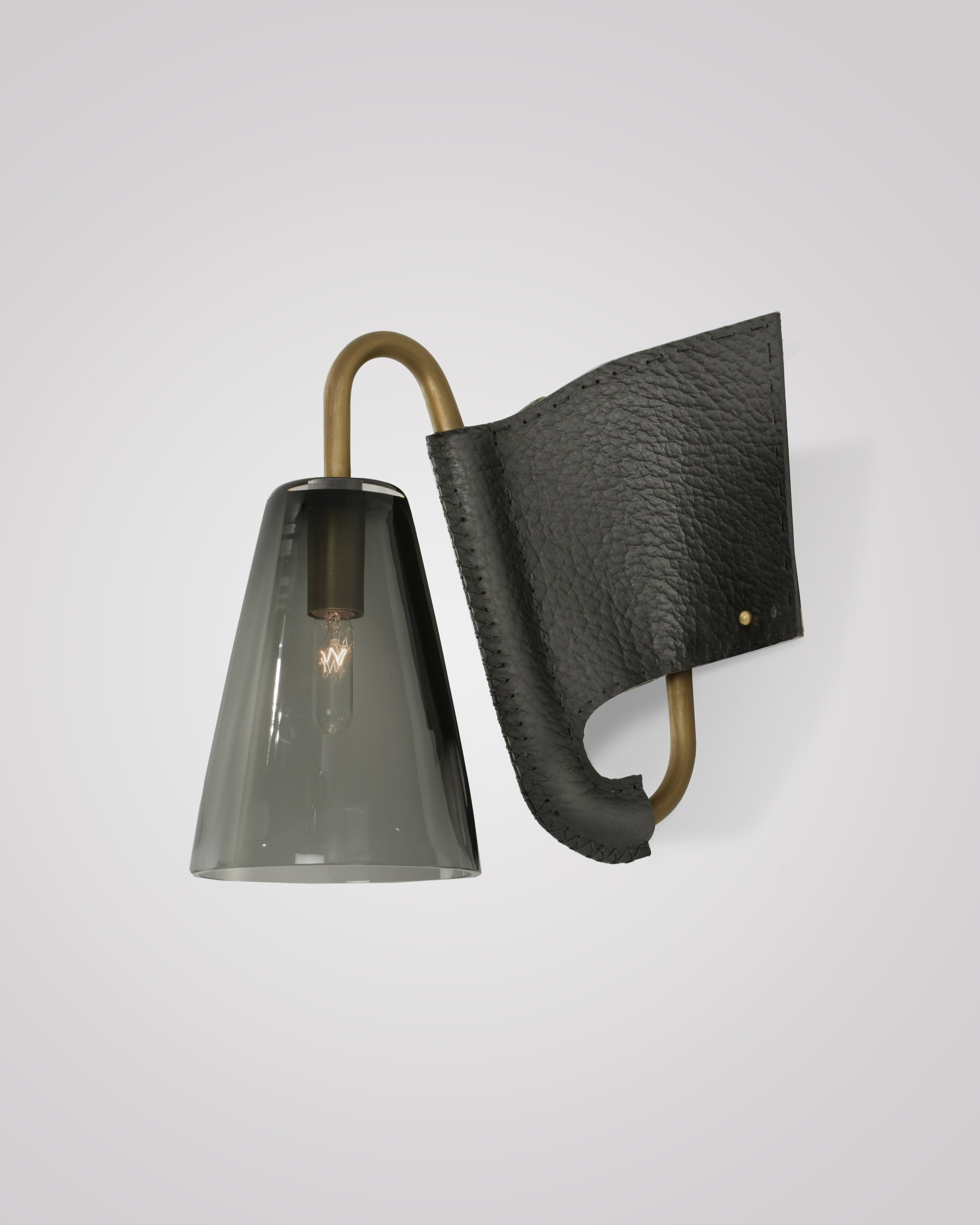 Light Antique Brass and Smoke Smooth and Black Buffalo Grain
