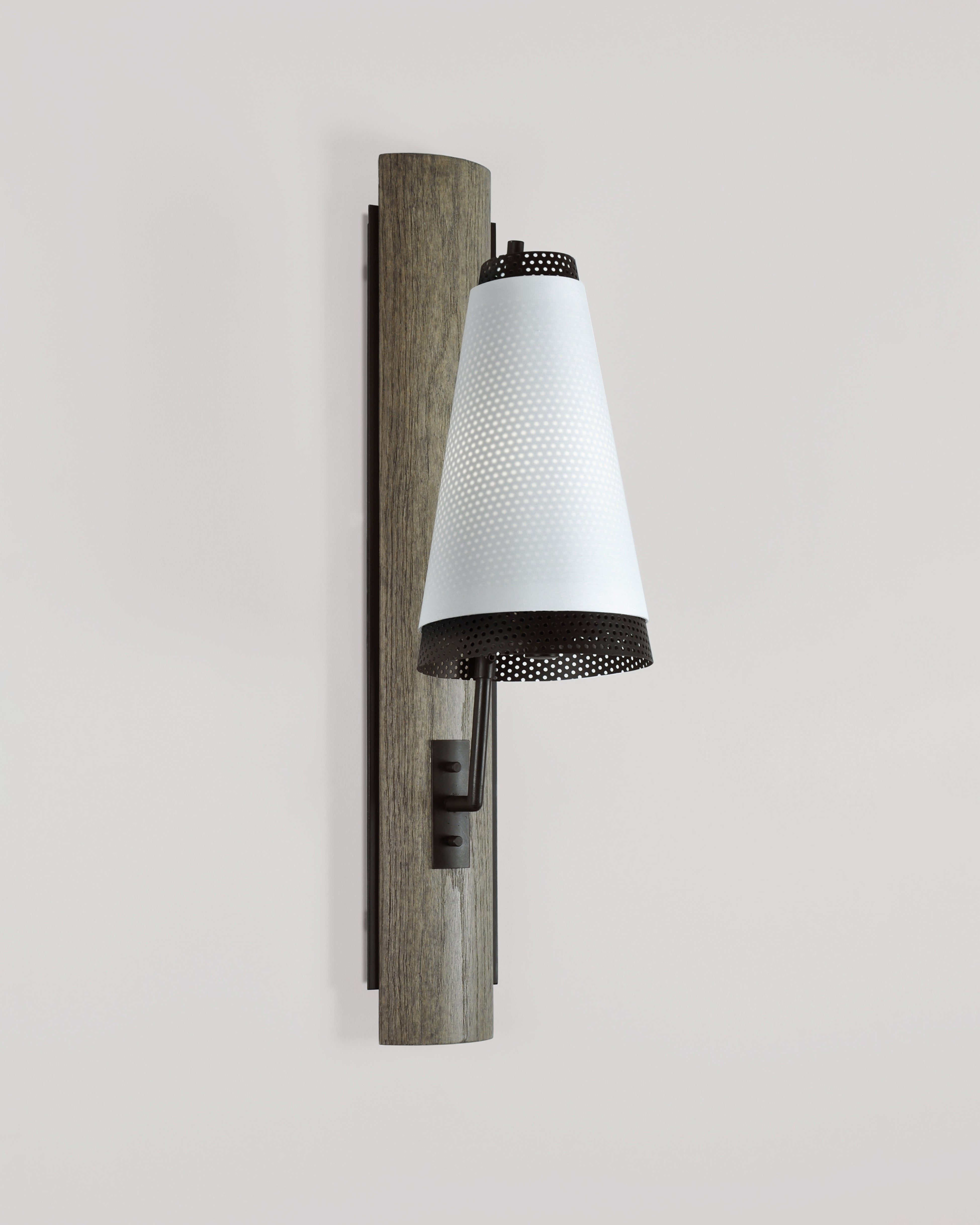 Weathered Oak and Oil Rubbed Bronze with Bright White Silk Pongee
