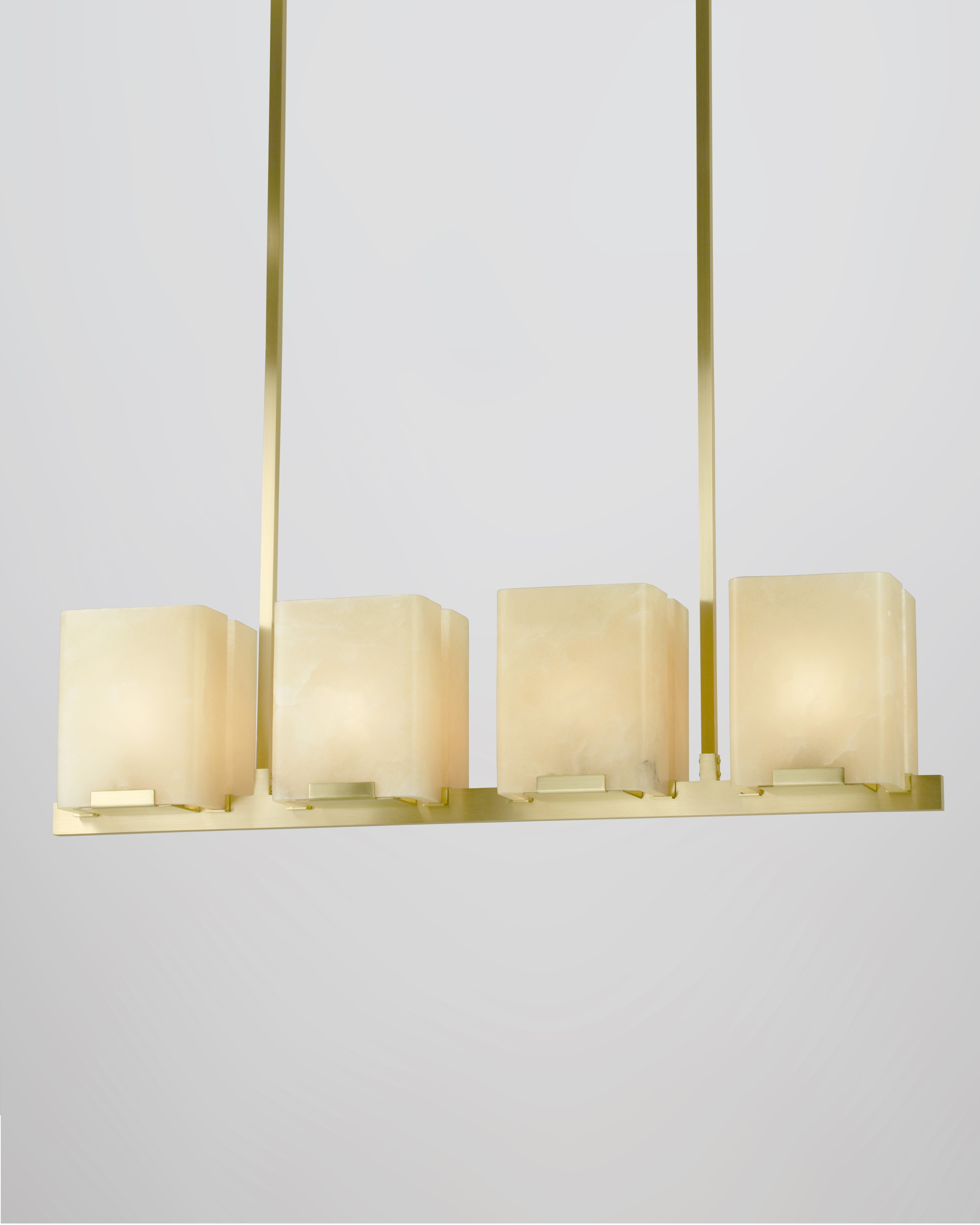 8 Light in Brushed Brass with Alabaster