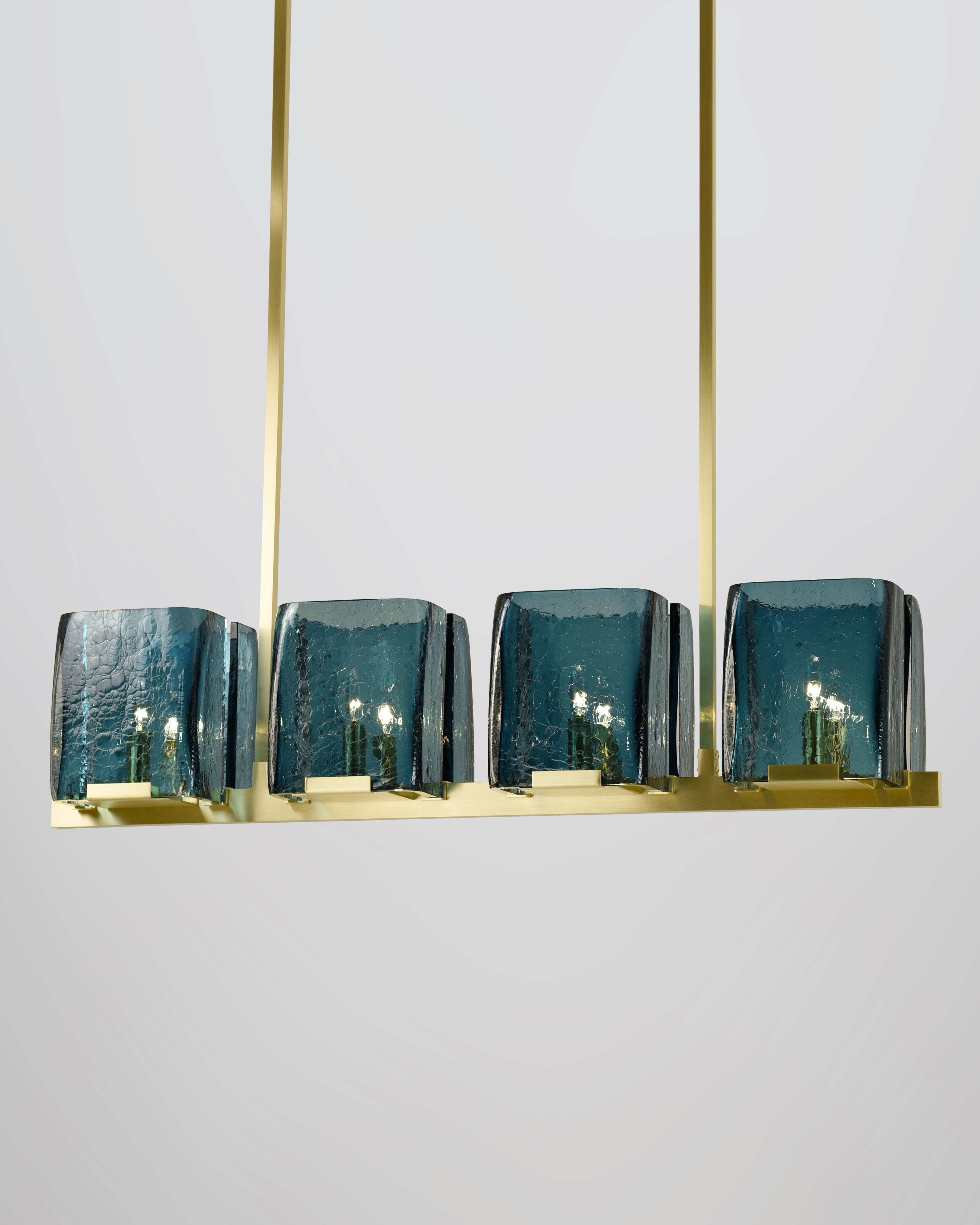 8 Light in Brushed Brass with Blue Crackled Glass