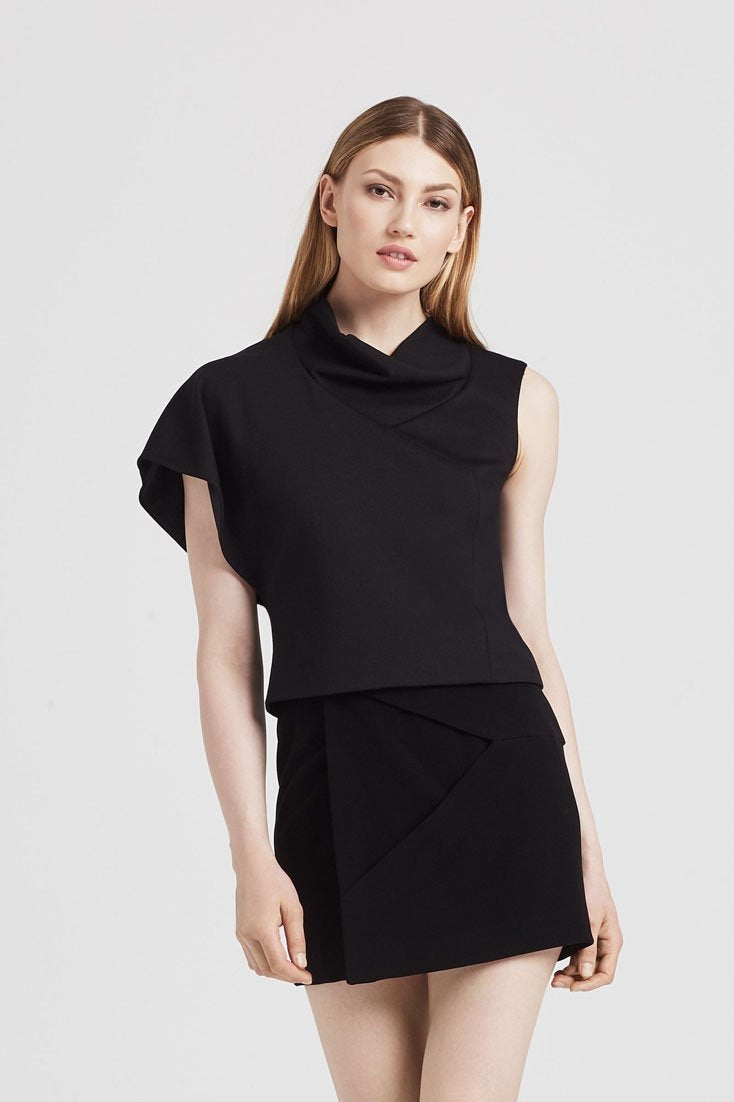 Cowl Top in Black - Tops