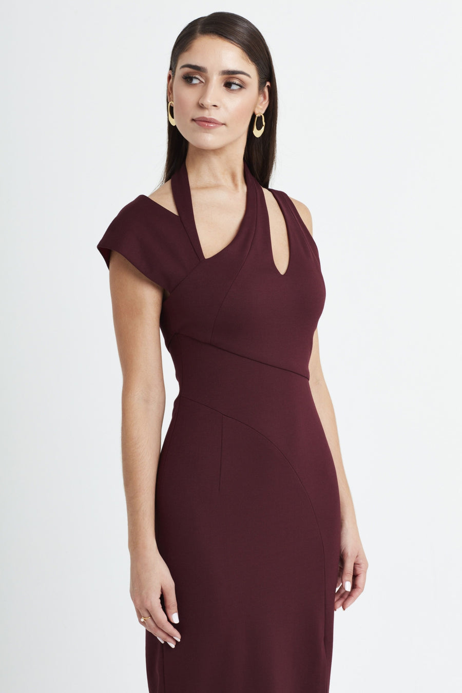 Curvature Dress in Merlot