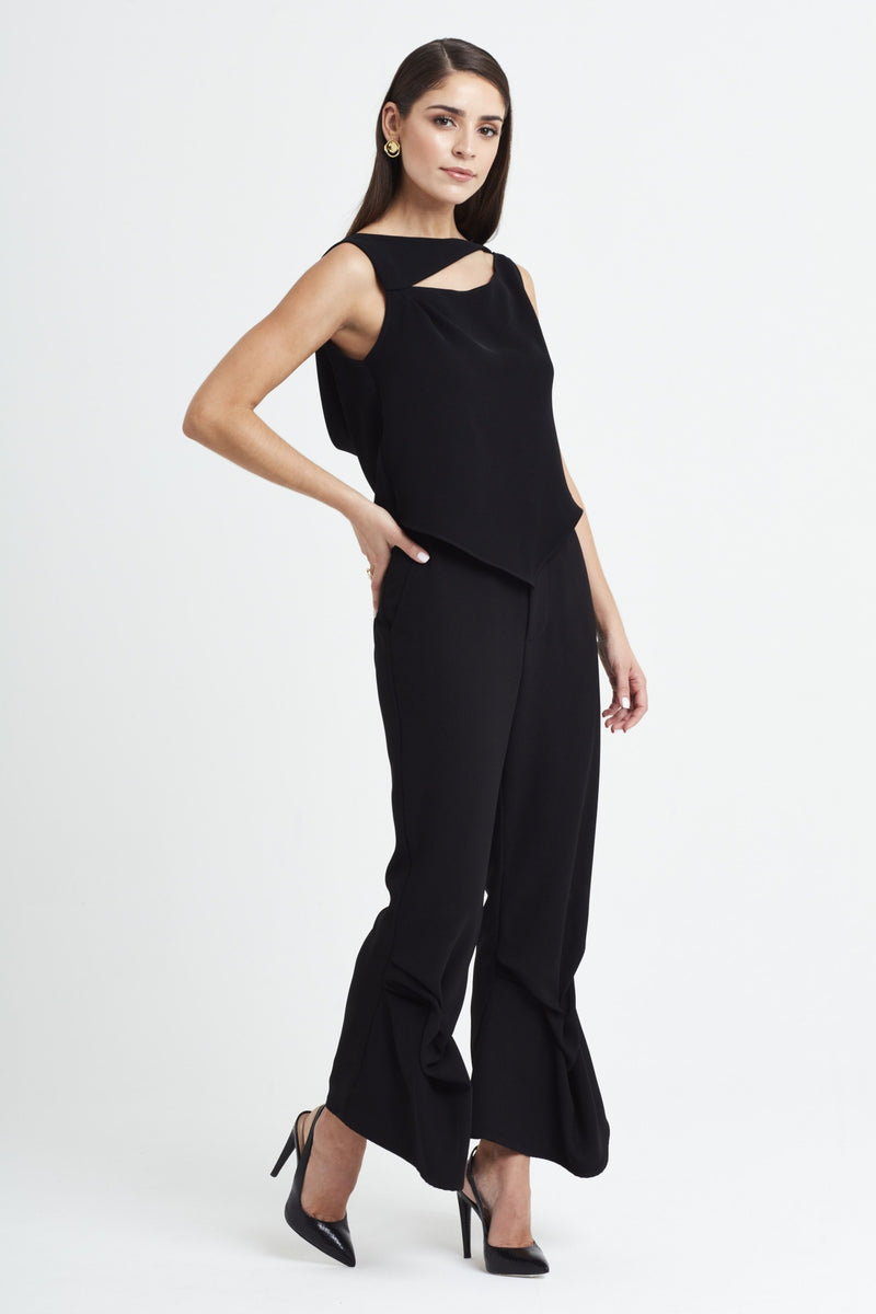 Lotus Drape Top in Black