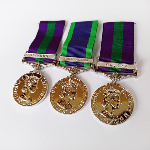 GSM Military Medals set Cyprus , South Arabia , Malaya - Army RAF Naval Repro