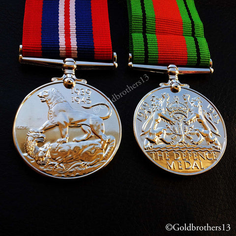War Medal & Defence Medal WW2 British Campaign Military Medals 1945 Repro