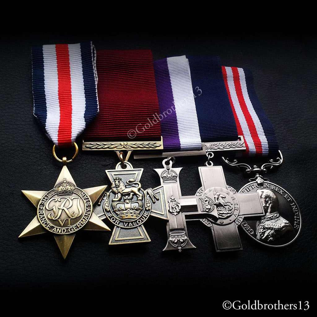 5x Set Fr Ger Star , Victoria Cross , Military Cross , Gc & Military Medal Repro